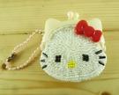 【震撼精品百貨】Hello Kitty 凱蒂貓-三麗鷗 KITTY珠扣零錢包-珠珠材質-紅色#02297