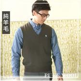 【大盤大】(V62-865) 100%純羊毛 零碼出清 L號 灰咖 100%純羊毛背心 V領背心 套頭 男女 防縮毛衣