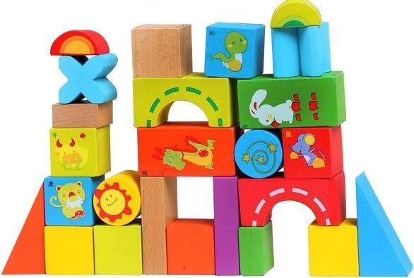 *粉粉寶貝玩具*生肖積木 33pcs ~早教教材~優質木製教具~ 益智 優質原木 安全無毒環保漆