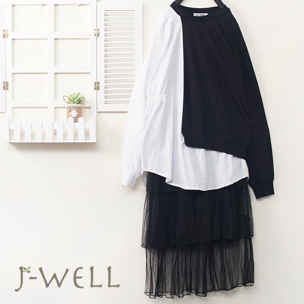 J-WELL 剪接拚色上衣網紗蛋糕裙內搭洋二件組(組合A526 9J1071黑+9J1010黑)