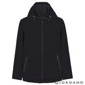 【GIORDANO】男裝 fleece搖粒絨連帽防風外套-04 標誌黑