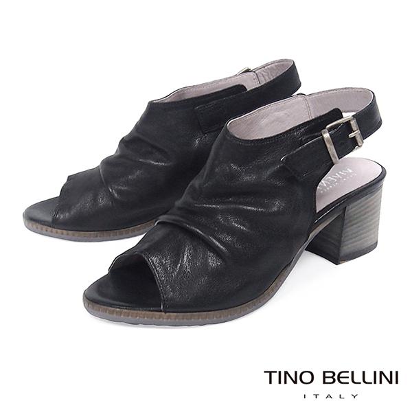 Tino Bellini義大利復古感全真皮高跟魚口涼鞋_ 黑 B73225 歐洲進口款