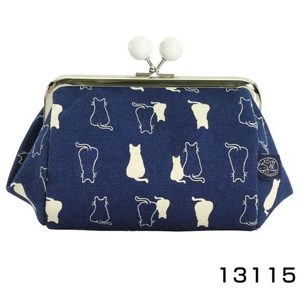 【日本製】貓帆布系列 寬底萬用零錢包 親子貓咪圖案 深藍色 SD-7071 - 日本製 貓帆布系列