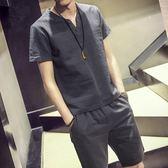 夏季亞麻短袖t恤套裝男士大碼棉麻半袖體恤衣服潮流男裝