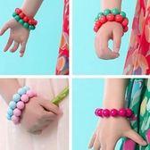 UNICO  韓版 兒童糖果色珠珠彈性鬆緊手鍊/飾品