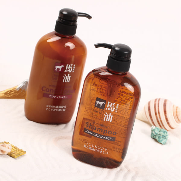 日本熊野 馬油無矽靈洗髮精潤髮乳(600ml)【櫻桃飾品】【23409】