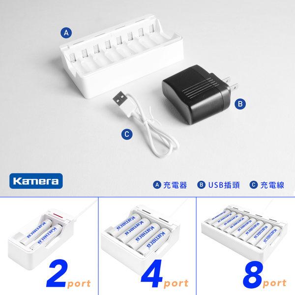 放肆購 Kamera USB-BC8 鎳氫隨身充電器 8顆充 單迴路 USB 鎳氫充電器 AA AAA 3號 4號 鎳氫電池 充電電池
