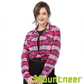 【Mountneer】女 CORDURA保暖格子襯衫『深桃紅』32B02 戶外.休閒.旅行.保暖.上班.通勤.出國旅遊