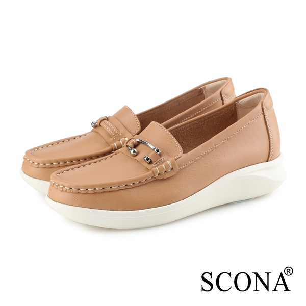 SCONA 蘇格南 全真皮 輕量舒適厚底樂福鞋 棕色 7347-2