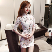 夜場女裝新款復古印花中袖收腰顯瘦包臀改良旗袍側開叉洋裝