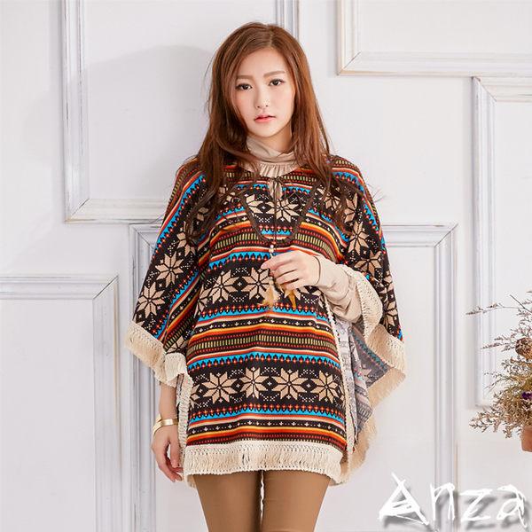 【AnZa】摩洛哥風格羽毛流蘇邊大斗篷/罩衫