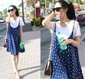 漂亮小媽咪 韓系洋裝 【D0210XD】 時尚 二件式 藍色點點(T恤+背心裙) 連身裙 孕婦裝 娃娃裝