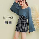 IN'SHOP 冬季學院風格紋短裙-共2色【KT21411】