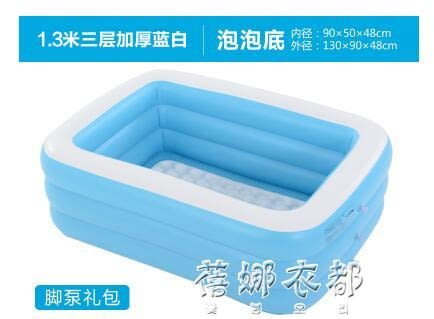 雙人超大家用成人泡澡桶情侶充氣浴缸兒童洗澡桶折疊浴盆游泳池igo 蓓娜衣都