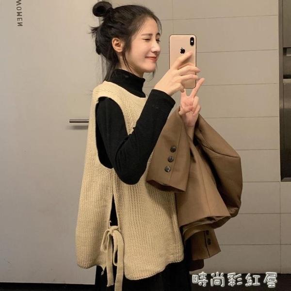 百搭針織毛衣背心女寬鬆外穿設計感側邊綁帶毛衣馬甲上衣 裝飾界