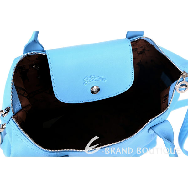 LONGCHAMP Le pliage Cuir 短把皮革摺疊兩用包(小/天空藍) 1340242-27
