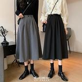 秋季2020新款復古高腰顯瘦垂感中長款黑色職業A字半身裙女裝裙子 快速出貨