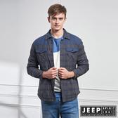 【JEEP】造型撞色拼接格紋襯衫式外套 (深藍)