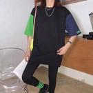 歐貨大版中長款短袖t恤女2021夏季新款寬鬆洋氣百搭撞色半袖上衣 魔法鞋櫃