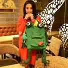 青蛙後背包女皇冠四腳青蛙墨綠色帆布手提創意原創手工帆布包