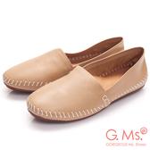 G.Ms. *超柔軟綿羊皮圓頭豆豆懶人休閒鞋*杏膚
