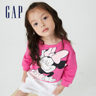 Gap女幼童 Gap x Disney 迪士尼系列印花刷毛休閒上衣 731718-玫紅色