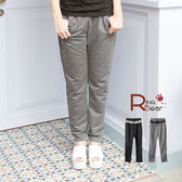 拼接--休閒顯瘦褲款鬆緊帶抽繩設計腰間拼接布配色長褲(黑.灰M-XL)-P95眼圈熊中大尺碼