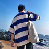 韓版潮流寬鬆五分短袖t恤男生韓國bf原宿風學生百搭ulzzang七分袖