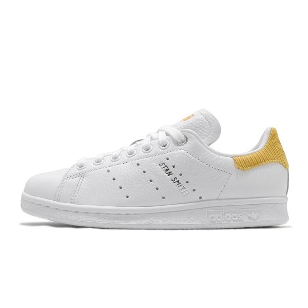 adidas 休閒鞋 Stan Smith W 白 黃 女鞋 皮革 燈芯絨 小白鞋 運動鞋【ACS】 H69023