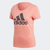 adidas T恤 Foil Badge of Sport Tee 女款 短袖 上衣 短T LOGO 基本款 粉 【PUMP306】 CV4563