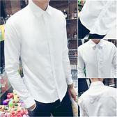 春季長袖白色襯衫男士修身韓版潮流襯衣男青年正裝純色寸衫工作服    蜜拉貝爾