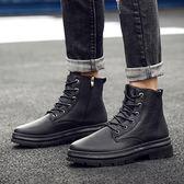 森雅誠品 馬丁靴男英倫工裝靴中高筒男皮靴子秋冬季黑色短靴男潮流