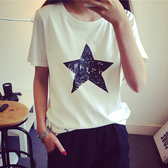 DE shop - 韓版經典圓領星星圖案短袖T恤 - T-041