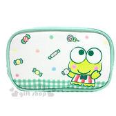 〔小禮堂〕大眼蛙 帆布拉鍊筆袋《綠白.格子.糖果》化妝包.收納包.筆盒 4549466-02862