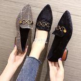 鞋子女復古網紅粗跟單鞋高跟百搭仙女的鞋中跟少女  伊莎公主