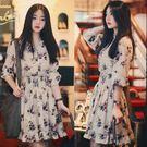 正韓寬鬆 長袖裙子收腰時尚小碎花顯瘦雪紡...