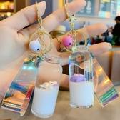 鑰匙圈 流沙瓶愛沖浪的鑰匙扣小豬油奶瓶漂流豬漂浮沖浪豬牛奶瓶網紅掛件