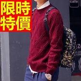 長袖毛衣-美麗諾羊毛韓流保暖套頭男針織衫63t14[巴黎精品]