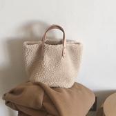 手提包   包包女新款秋冬ins羊羔毛少女時尚百搭簡約大容量側背手提包   伊蘿鞋包