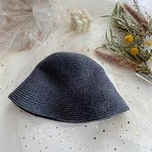 漁夫帽女秋冬季盆帽休閒素色百搭針織水桶帽【少女顏究院】