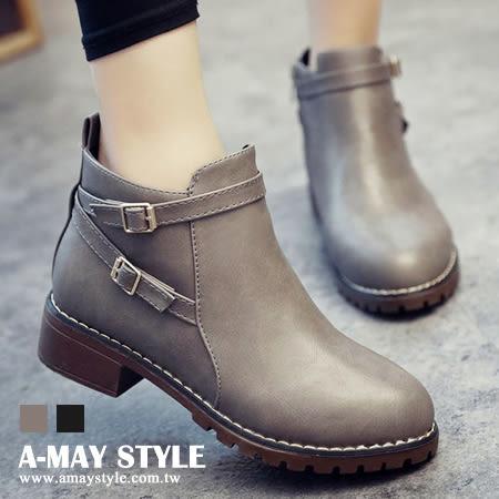 現貨踝靴-英倫雙皮帶扣低跟短靴