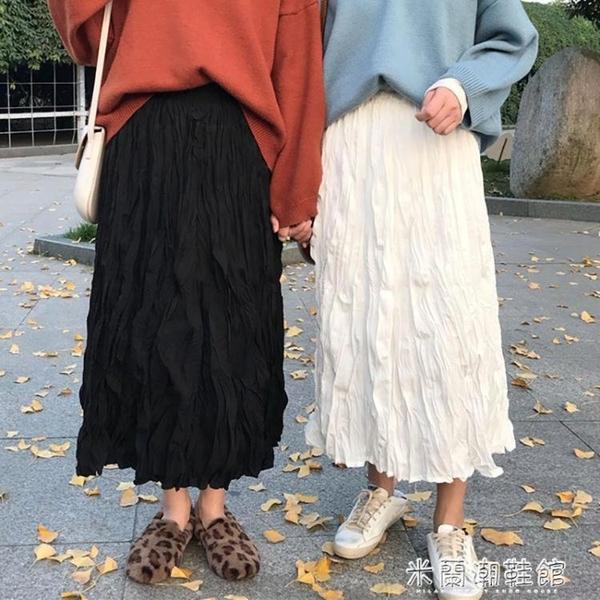 蕾絲半身裙 新款白色百褶裙中長款女裙子ins超仙學生韓版高腰a字裙半身裙 快速出貨