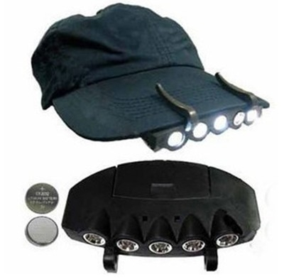 5LED 夾帽燈 帽檐燈 帽子燈 釣魚頭燈 夜釣燈 含電池─預購CH776