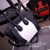 女包包日韓笑臉包囧包撞色手提包單肩包側背包 果果輕時尚