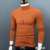 秋冬半高領羊絨衫男士寬鬆保暖加厚套頭中領針織衫純色打底毛衣男『潮流世家』