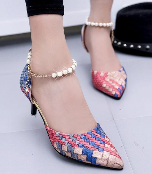 新款細跟性感女鞋韓版編織皮淺口單鞋尖頭珍珠鍊高跟鞋百搭涼鞋夏