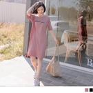 《DA8449-》台灣製造刺繡英文長版T恤短洋裝 OB嚴選