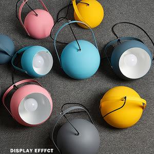 五彩馬卡龍色系圓罩單吊燈 五色款 藍灰色 TA8901