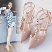 細跟涼鞋2018新款女歐美時尚氣質包頭柳釘時尚性感夜店涼鞋 DN13235【男人與流行】