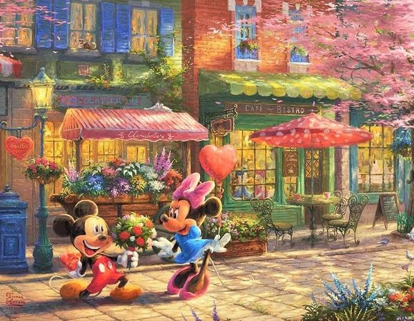 【拼圖總動員 PUZZLE STORY】米奇米妮-花店前的驚喜 日系/Beverly/Thomas Kinkade X 迪士尼/1000P